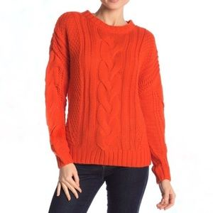 ONE A Orange Cable Knit Chunky Crewneck Sweater